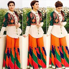 patterns Pakistani Wedding Dresses, Pakistani Dress Design, Pakistani Outfits, Pakistani Gharara, Elegant Dresses, Casual Dresses, Fashion Dresses, Girls Dresses, Beautiful Dress Designs
