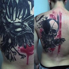 Raven And Skull Tattoo Male Back