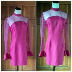 Vintage Dress Hot Pink 90s Acid Rave Club by caligodessvintage, $36.00