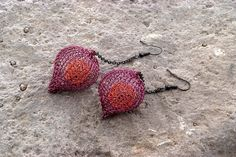 Orange and Purple Long Earrings - ChunkyCage Earrings - Knitted Beads - Nature Inspired Contemporary Jewelry