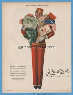1928 Johnston's Chocolates Candy Bellhop with Gift Boxes Milwaukee WI color ad
