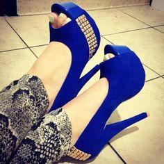 #heels #studs #peeptoe #royal blue