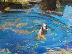 """Image: Clare Menck, """"Waterblommetjie Swemmer"""", Oil on canvas, 2015"""