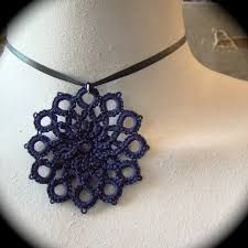 Items similar to Tatted Lace Pendant - The Center Medallion - Navy Blue on Etsy Russian Crochet, Irish Crochet, Tatting Necklace, Crochet Necklace, Needle Tatting Tutorial, Wire Crochet, Tatting Lace, Tatting Patterns, Bracelet Tutorial