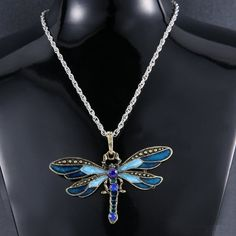 Hot Silk Alloy Retro Dragonfly Animal Rhinestone Enamel Pendant Necklace Vintag #Unbranded #Pendant