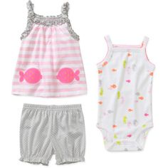 Child of Mine by Carters Newborn Girls' 3 Piece Fish Shirt, Bodysuit and Short Set