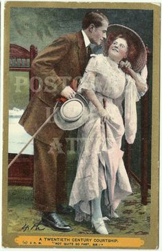 Antique Postcard featuring Romantic Couple by postcardsintheattic, $12.95