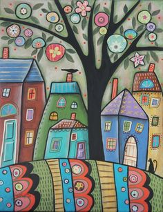 City Life 11x14 ORIGINAL mixed media PAINTING houses cat FOLK ART Karla Gerard #FolkArtAbstractPrimitive