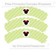 Free Pastel Lime Green Diagonal Striped  Minnie Mouse Scalloped Cupcake Wrappers