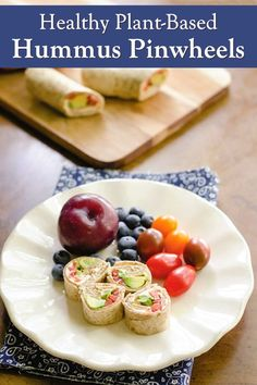 Healthy Hummus Pinwheels - a versatile dairy-free appetizer, afternoon snack, or lunch box addition (options: vegan, paleo, gluten-free, allergy-friendly)