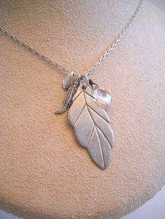 "#Leaf #Feather #BrioletteCrystal #Crystal #925Silver #925Sterling #925SterlingSilver #Sterling #Silver #SterlingSilver #Necklace 5.9g 20"" #Prendant"