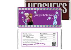 Disney Frozen Movie Birthday Candy Bar Wrappers Party Favors