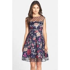 Eliza J Mesh Overlay Fit & Flare Dress ($188) ❤ liked on Polyvore featuring dresses, navy print, petite, retro dresses, eliza j dresses, navy floral dress, floral print dress and floral dress