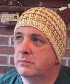 Handmade Mens Beanie Hat  Hand Knit  Brown by JazzitUpwithDesigns