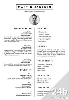 CV sjabloon in Word. Onderscheidend met een professionele uitstraling. http://deleydsche.nl/product/cv-sjabloon-24b