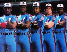 Early Expos Group - Tim Raines, Warren Cromarte, Al Oliver, Gary Carter, Andre Dawson Expos Baseball, Baseball Boys, Baseball Cards, Baseball Stuff, Major League Baseball Teams, Mlb Teams, Baseball Players, Mlb Uniforms, Baseball Uniforms