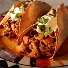 Turkey and Yam Spicy Tacos — Spicy tacos with low-fat turkey have a sweet-hot flavor, and yams give them a surprising twist.