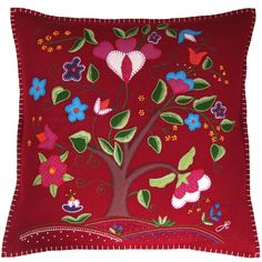 Cream and red square wool cushion. Heart Cushion, Luxury Cushions, Mothers Day Presents, Blanket Stitch, Kids Pillows, Perfect Pillow, Chain Stitch, Felt Crafts, Wool Felt