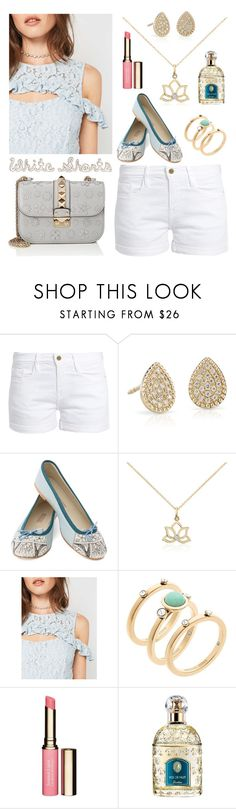 """""""White Shorts"""" by linmari ❤ liked on Polyvore featuring Frame, Blue Nile, MEHER KAKALIA, Miss Selfridge, Michael Kors, Clarins, Guerlain and Valentino"""