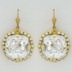 Sparkling pillow cut crystal earrings by La Vie Parisienne. Vintage Glam! $78