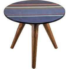 Crafted From Mango Wood And Featuring A Striped Top Design This Side Table Adds