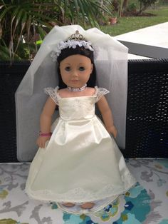 Bridal Gown and Veil for your American Girl by AGCoutureDesigns