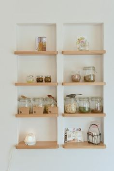 Built-in storage, glass containers.