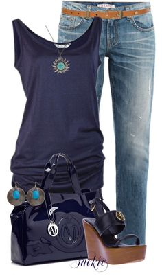 """Boyfriend Jeans 2"" by jackie22 on Polyvore. Need some flats for me though."