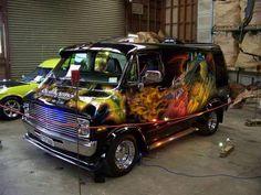 Custom VANS natural BABES & other bad ass transportation. Dodge Van, Chevy Van, Customised Vans, Custom Vans, 1967 Chevy C10, Old School Vans, School Days, Van Car, Vanz