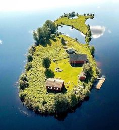 tiny private island with little red houses