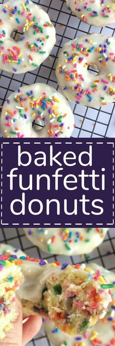Soft and sweet donuts filled with funfetti sprinkles, covered in a vanilla glaze and baked in the oven. These baked funfetti donuts are soft, sweet, quick to make, and so delicious!