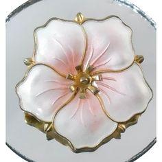 Sterling Pink Enamel Norway Flower Brooch Signed Aksel Holmsen