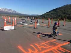 A chance to bike through a bike race checkpoint because we were volunteering for the race.