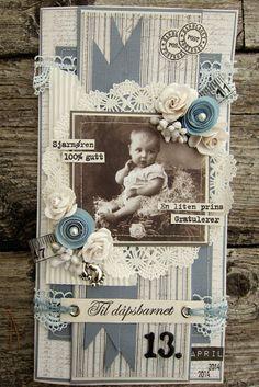 min lille scrappe-verden: Dåpskort til gutt Ann Kristin Martinsen Album Vintage, Vintage Scrapbook, Mini Scrapbook Albums, Vintage Tags, Baby Scrapbook, Scrapbook Cards, Heritage Scrapbooking, Scrapbooking Layouts, Handmade Tags