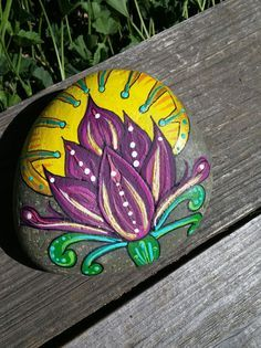 Rock Art LOTUS Flower Hand Painted Beach by LotusandNightshade