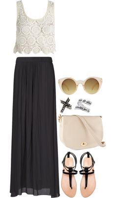 """inspired outfit for a night out in spain"" by hayleycarbran ❤ liked on Polyvore. maxi skirt lace crop top sandals. boho"