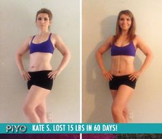"""Kate S. lost 15 lbs in 60 days with PiYo!    """"With PiYo, the joint pain in my knees and hips is completely gone and my back pain has easily been reduced by 95%. I'm seeing muscle definition in places I've never seen it. Clothes that were skin tight at the start of PiYo are now falling off of me!"""""""