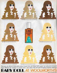 Baby Doll hair colorant shampoo advert ~ 19 Magazine, May 1969 Vintage Makeup Ads, Retro Makeup, Vintage Beauty, Vintage Ads, Baby Doll Hair, Baby Dolls, Retro Ads, Vintage Advertisements, Doll Makeup