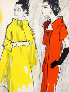 Illustration by René Bouché, 1962, Cotton Ottoman, Crêpe...Miss Bergdorf Goodman, Galey  Lord.