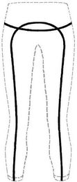 "The mark consists of a curved horizontal line running across the back of the tights/shorts/pants at hip level, and of a curved line in the shape of an inverted ""U"". The inverted ""U"" also runs across the back of the tights/shorts/pants, with one leg of the ""U"" running up and down the left back leg of the tights/shorts/pants, and the other leg of the inverted ""U"" running up and down the right back leg of the tights/shorts/pants. The lines that comprise the mark indicate the location of the…"