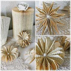 anleitung weihnachtsbaum falten upcycling weihnachtsdeko diy dorothea koch pinterest. Black Bedroom Furniture Sets. Home Design Ideas