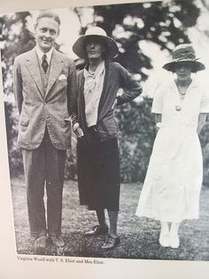 Virginia Woolf with T.S. Eliot and Mrs. Eliot - just look at the body-language! Poor Vivienne.
