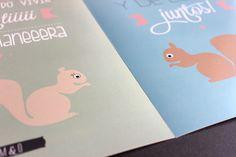 Láminas personalizadas A4. Ilustración ardillas