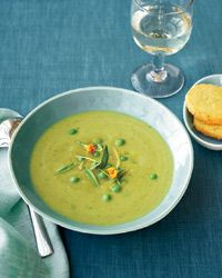 Asparagus soup with parmesan shortbread coins.  The shortbreads are a great savory treat and complement the soup well.