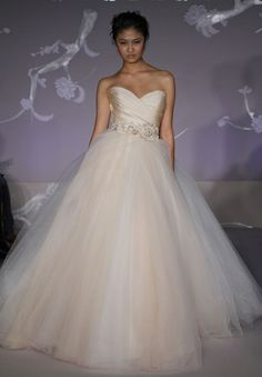 """This Lazaro dress is gorgeous. I love the """"Sherbert"""" colour and the tulle is so fun!"""