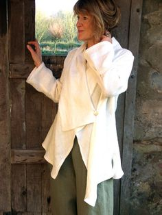 Long sleeve Paris shirt in oyster openweave linen over sage new width trousers