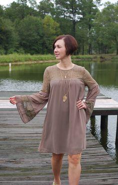 Crochet Detail Bell Sleeve Tunic Dress