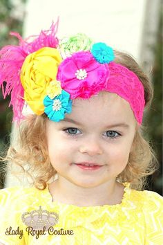 ISLAND CRUISE  Little Girl Headband  Rosette by LadyRoyalCouture, $23.99