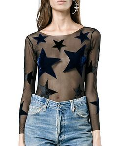 Shop a great selection of May&Maya Women's Pure Mesh Long Sleeve Star Applique Blouse Tops T Shirt. Find new offer and Similar products for May&Maya Women's Pure Mesh Long Sleeve Star Applique Blouse Tops T Shirt. Short Sleeve Tunic Tops, Mesh Long Sleeve, Lace Crop Tops, Mama Bear Shirt, Bodysuit Tops, Black Silk, Casual Tops, Applique, Star
