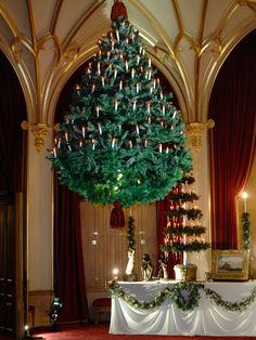 Queen Victoria and Prince Albert celebrated Christmas with their family at Windsor Castle. Christmas trees were decorated with candles and artificial snow and suspended from the ceilings of the State Rooms.